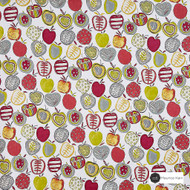 Maurice Kain Cobbler 138cm - Berry    Curtain Fabric - Green, Red, Contemporary, Floral, Garden, Botantical, Uncoated, Kitchen, Natural, Pattern