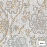 Sekers Flaunt 137cm - Duck Egg  | Curtain Fabric - Gold, Yellow, Floral, Garden, Botantical, Uncoated, Jacobean, Standard Width