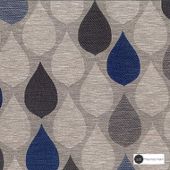 Maurice Kain Hilton 138cm - Pacific    Curtain Fabric - Blue, Floral, Garden, Botantical, Uncoated, Ogee, Pattern, Standard Width