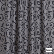 Resene Lyrical 137cm - Charcoal  | Curtain Fabric - Black, Charcoal, Floral, Garden, Botantical, Uncoated, Scroll, Pattern, Standard Width