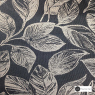 Maurice Kain Orlando 137cm - Pacific  | Curtain Fabric - Black, Charcoal, Contemporary, Floral, Garden, Botantical, Uncoated, Pattern, Standard Width