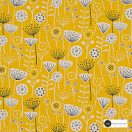Maurice Kain Oslo 138cm - Sunshine    Curtain Fabric - Gold, Yellow, Contemporary, Floral, Garden, Botantical, Uncoated, Natural, Natural Fibre