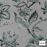 Sekers Rosetta 133cm - Aloe  | Curtain Fabric - Grey, Floral, Garden, Botantical, Uncoated, Jacobean, Natural, Natural Fibre, Standard Width