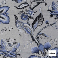 Sekers Rosetta 133cm - Iris  | Curtain Fabric - Blue, Floral, Garden, Botantical, Uncoated, Jacobean, Natural, Natural Fibre, Standard Width