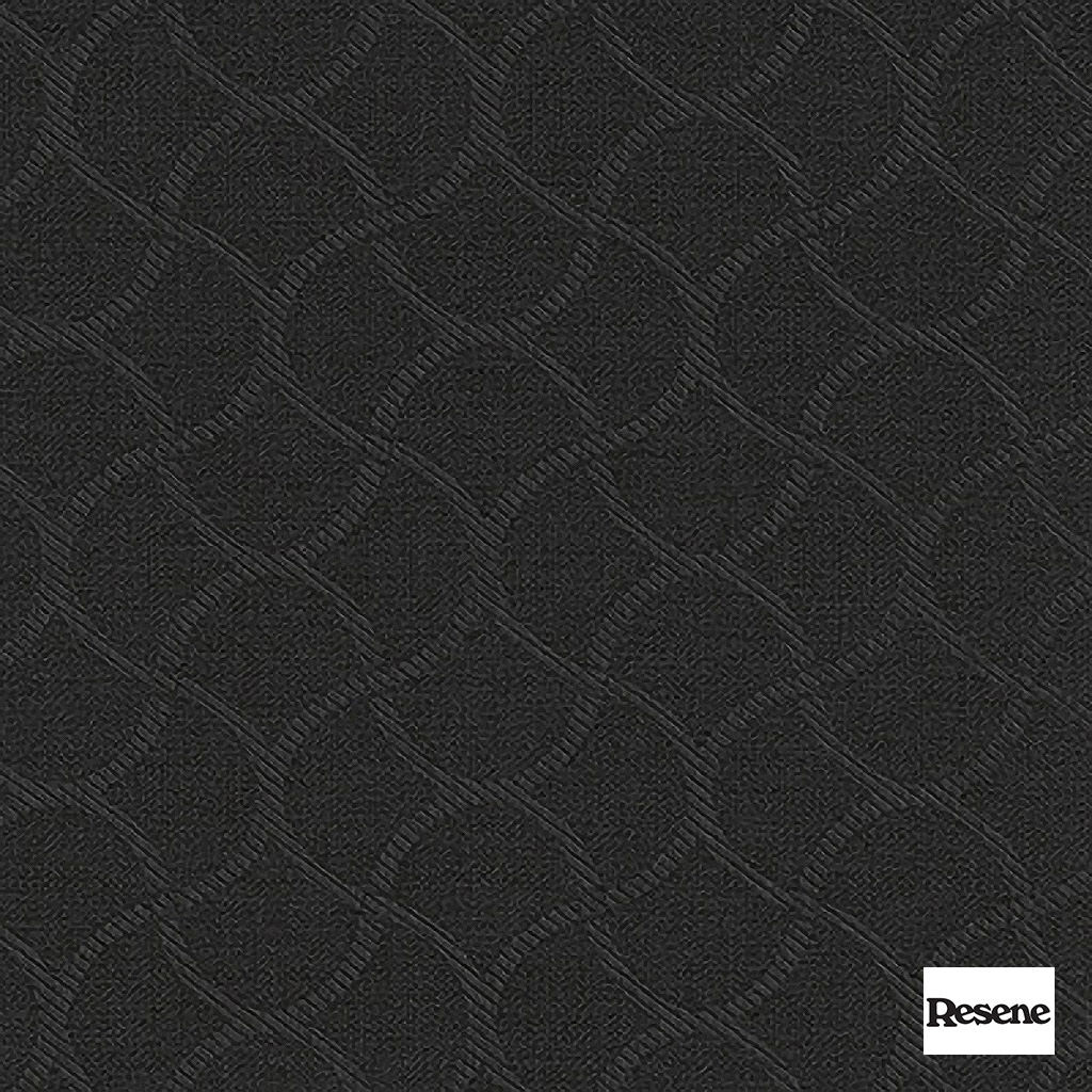 Resene Wave 140cm - Charcoal  | Curtain Fabric - Black, Charcoal, Mediterranean, Uncoated, Lattice, Trellis, Ogee, Pattern, Standard Width