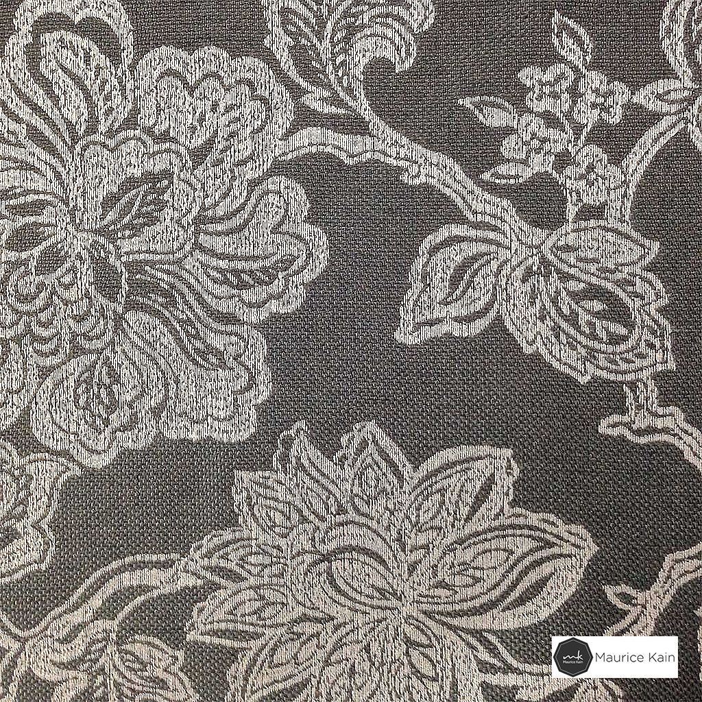 Maurice Kain Windermere 137cm - Charcoal  | Curtain Fabric - Black, Charcoal, Brown, Floral, Garden, Botantical, Traditional, Blockout, Blackout