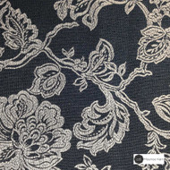 Maurice Kain Windermere 137cm - Pacific  | Curtain Fabric - Black, Charcoal, Floral, Garden, Botantical, Traditional, Blockout, Blackout, Jacobean