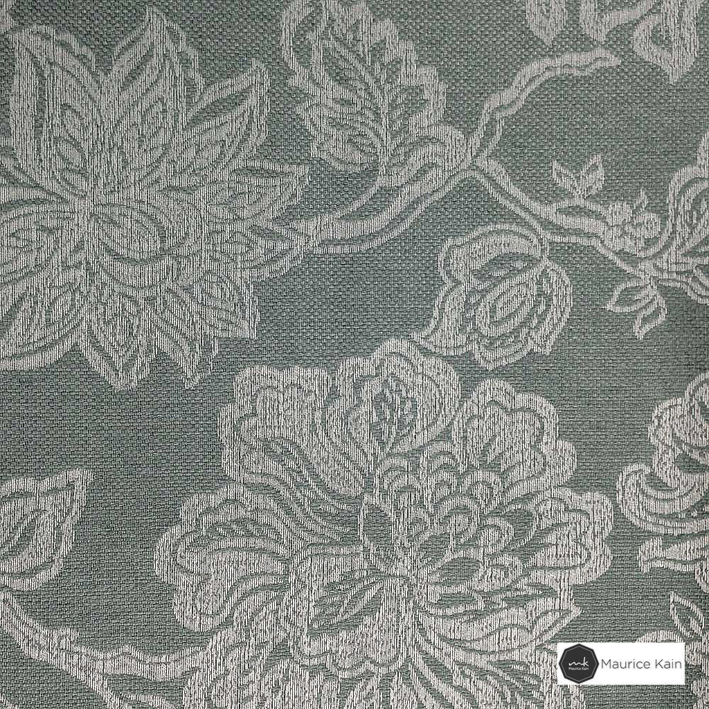 Maurice Kain Windermere 137cm - Sky  | Curtain Fabric - Blue, Floral, Garden, Botantical, Traditional, Blockout, Blackout, Jacobean, Standard Width