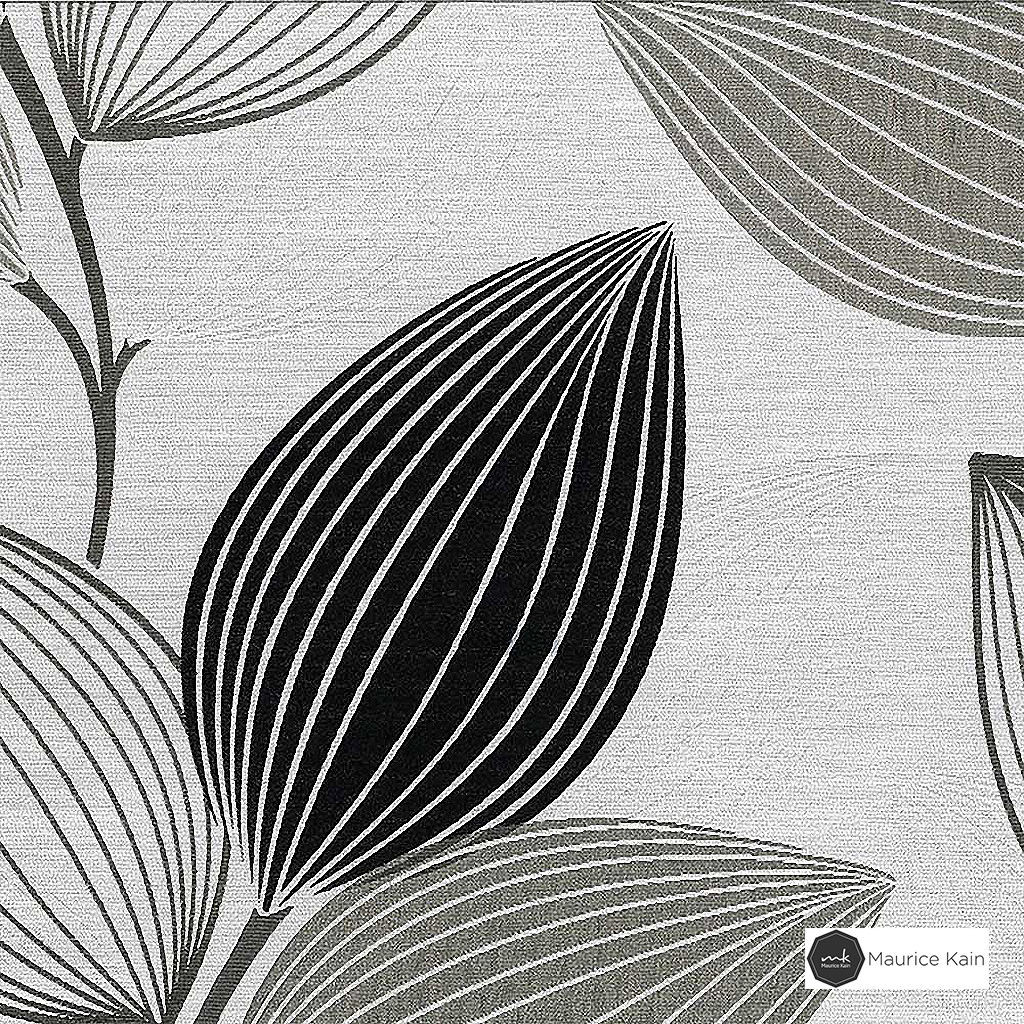 Maurice Kain Woodlands 137cm - Charcoal  | Curtain Fabric - Black, Charcoal, Contemporary, Floral, Garden, Botantical, Uncoated, Pattern
