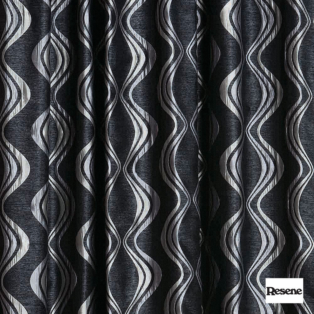 Resene Xpressions 136cm - Ebony  | Curtain Fabric - Black, Charcoal, Contemporary, Stripe, Uncoated, Ogee, Standard Width