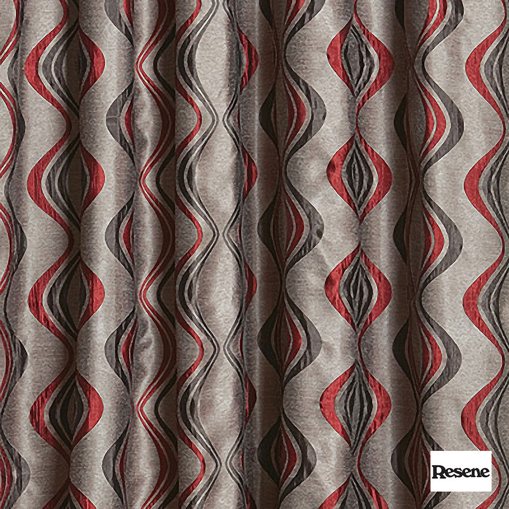 Resene Xpressions 136cm - Flame  | Curtain Fabric - Orange, Contemporary, Stripe, Uncoated, Ogee, Standard Width
