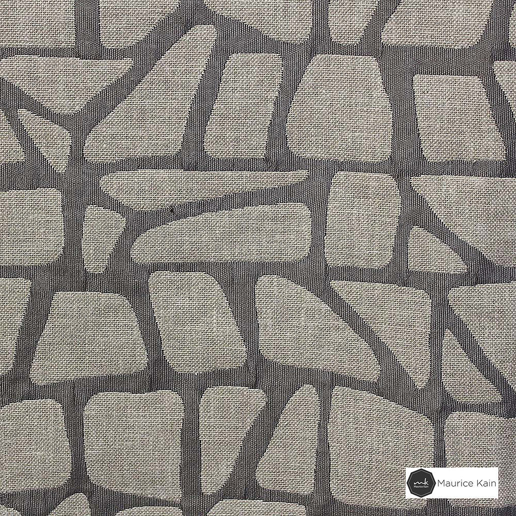Maurice Kain Zingaro 137cm - Charcoal  | Curtain Fabric - Black, Charcoal, Contemporary, Uncoated, Geometric, Mosaic, Fibre Blend, Standard Width