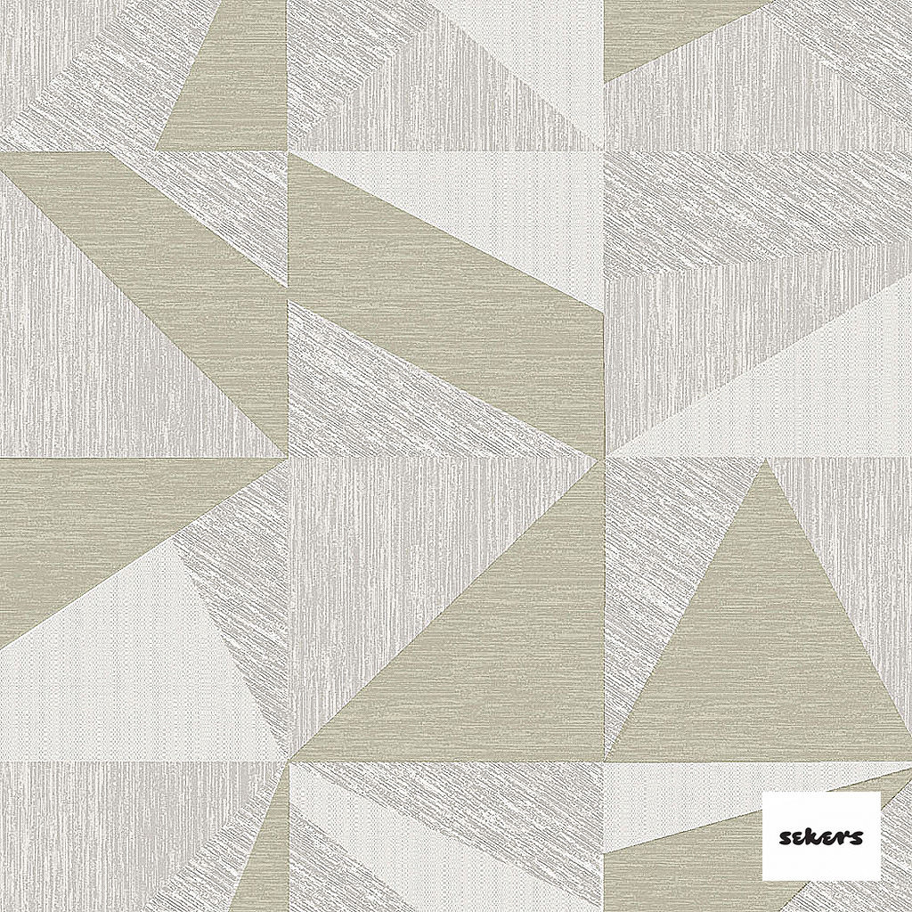 Sekers Zircon 298cm - Marble  | Curtain Fabric - Green, Grey, Contemporary, Uncoated, Wide-Width, Geometric, Abstract, Triangles