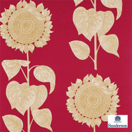 Sanderson Palladio Sunflower DVIWPA102  | Wallpaper, Wallcovering - Red, Floral, Garden, Midcentury, Commercial Use