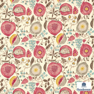 Sanderson Peas & Pods 225357  | Upholstery Fabric - Red, Fibre Blends, Floral, Garden, Commercial Use, Domestic Use, Standard Width