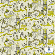 Sanderson Pagoda River DVIPPA204  | Upholstery Fabric - Green, Asian, Chinoiserie, Chinoise, Natural, Natural Fibre, Standard Width