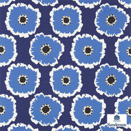 Sanderson Papavera 224615  | Upholstery Fabric - Blue, Floral, Garden, Geometric, Midcentury, Natural Fibre, Commercial Use, Domestic Use, Natural, Standard Width