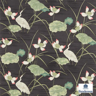 Sanderson HERONSFORD 223495  | Upholstery Fabric - Green, Floral, Garden, Botantical, Asian, Animals, Fauna, Birds, Chinoiserie, Chinoise, Natural