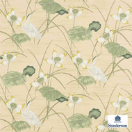 Sanderson HERONSFORD 223496  | Upholstery Fabric - Beige, Green, Floral, Garden, Botantical, Asian, Animals, Fauna, Birds, Chinoiserie, Chinoise