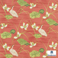 Sanderson HERONSFORD 223497  | Upholstery Fabric - Red, Floral, Garden, Botantical, Asian, Animals, Fauna, Birds, Chinoiserie, Chinoise, Natural