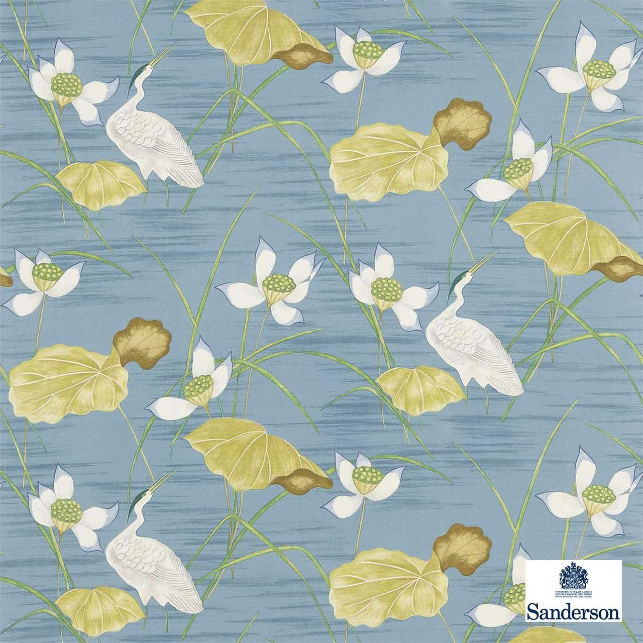 Sanderson HERONSFORD 223498  | Upholstery Fabric - Blue, Floral, Garden, Botantical, Asian, Animals, Fauna, Birds, Chinoiserie, Chinoise, Natural