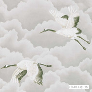 Harlequin Cranes In Flight 111230  | Wallpaper, Wallcovering - White, Asian, Harlequin, Animals, Animals - Fauna, Chinoise, Commercial Use, White, Birds