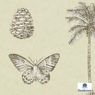 Sanderson Cocos 213381  | Wallpaper, Wallcovering - Fire Retardant, Brown, Gold, Yellow, Beach, Floral, Garden, Botantical, Animals, Fauna, Birds