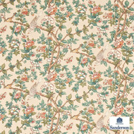 Sanderson Caverley DCAVCA204  | Upholstery Fabric - Green, Orange, Floral, Garden, Botantical, Animals, Fauna, Birds, Craftsman, Farmhouse, Natural
