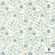 Sanderson Batik Garden 223575  | Wallpaper, Wallcovering - Blue, Floral, Garden, Botantical, Traditional, Small Scale