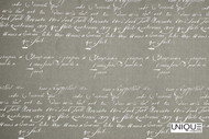 Unique Fabrics Bonheur Calligraphy - Linen  | Curtain & Upholstery fabric - Grey, Natural, Natural Fibre