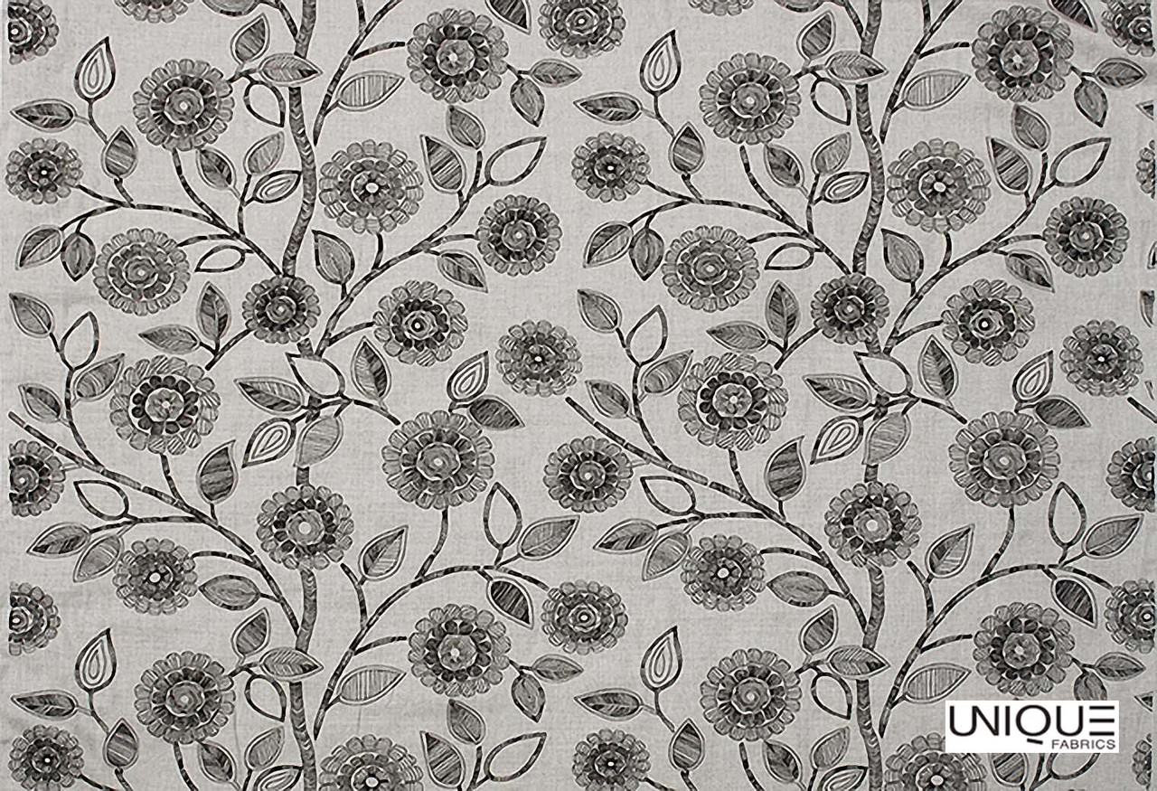Unique Fabrics Flores - Ginger Spice  | Curtain Fabric - Grey, Floral, Garden, Botantical, Suzani, Natural, Natural Fibre, Standard Width