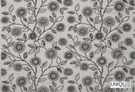 Unique Fabrics Flores - Ginger Spice  | Curtain Fabric - Grey, Floral, Garden, Midcentury, Natural Fibre, Suzani, Natural, Standard Width
