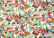 Unique Fabrics Flower Power - Ivory  | Curtain & Upholstery fabric - Red, Floral, Garden, Natural Fibre, Domestic Use, Natural, Standard Width