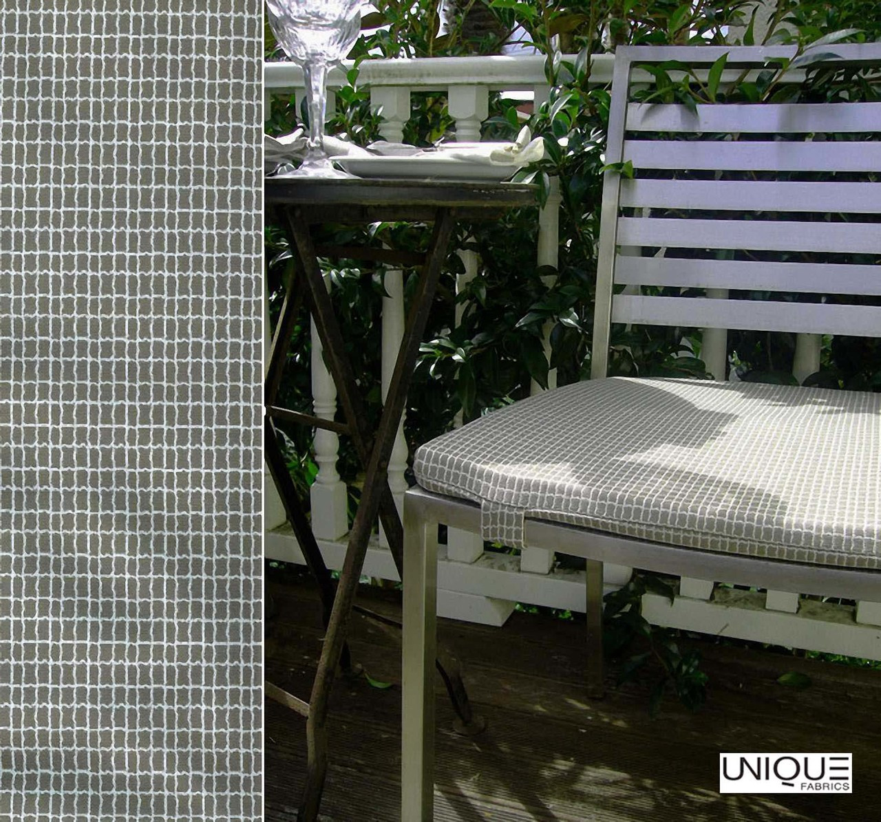 Unique Fabrics Outstanding Frame - Carrera  | Curtain & Upholstery fabric - Grey, Outdoor Use, Mosaic, Teflon, Standard Width