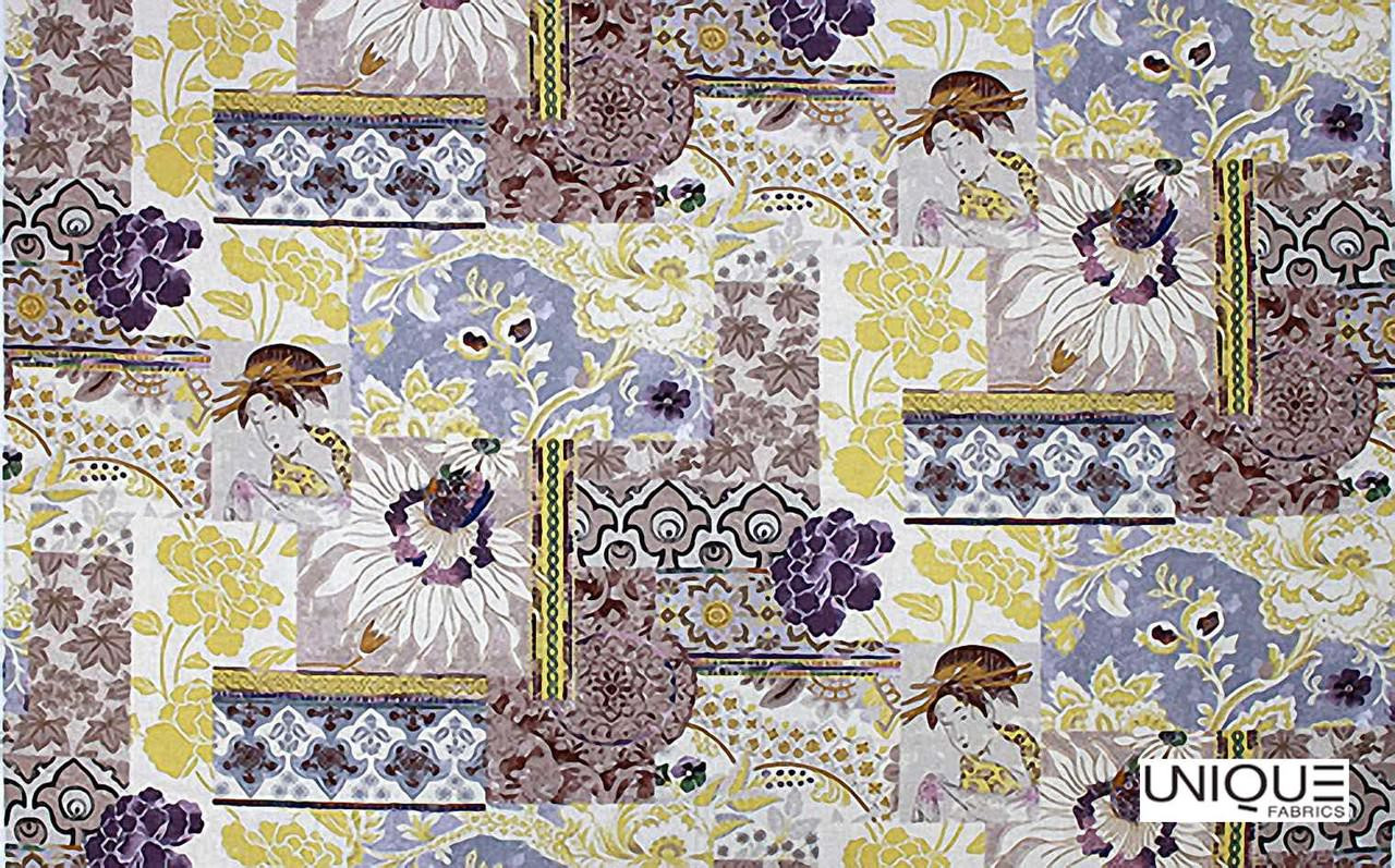 Unique Fabrics Giverny Geisha - Burnt Orange  | Curtain & Upholstery fabric - Pink, Purple, Asian, Patchwork, Chinoiserie, Chinoise, Natural