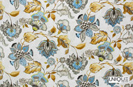 Unique Fabrics Artisan Prints Kew - Pomegranate  | Curtain & Upholstery fabric - Blue, Gold, Yellow, Floral, Garden, Botantical, Natural
