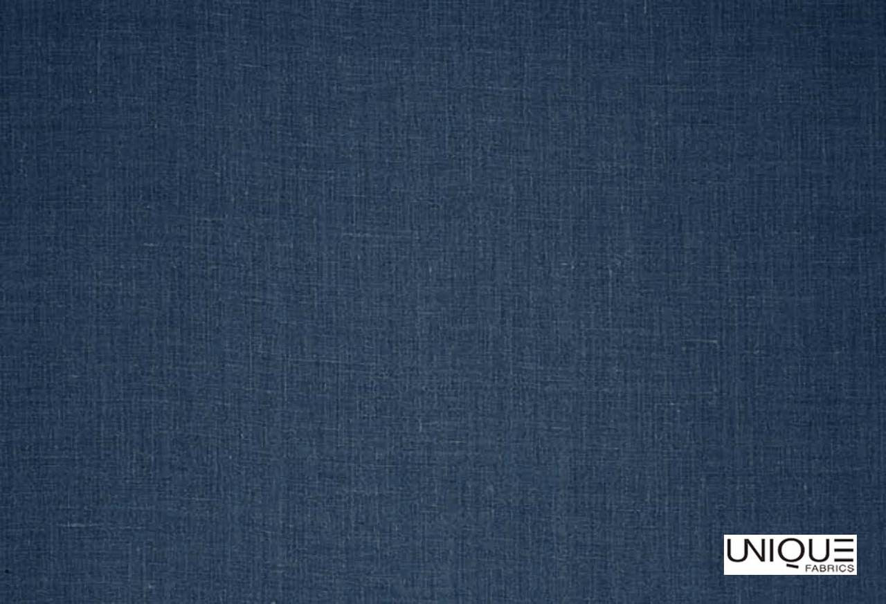 Unique Fabrics Linen Library Logan - Back Country  | Curtain & Upholstery fabric - Blue, Natural, Plain, Natural Fibre, Standard Width