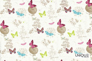 Unique Fabrics Bonheur Papillon - Blanc  | Curtain & Upholstery fabric - Pink, Purple, Eclectic, Animals, Fauna, Natural, Natural Fibre