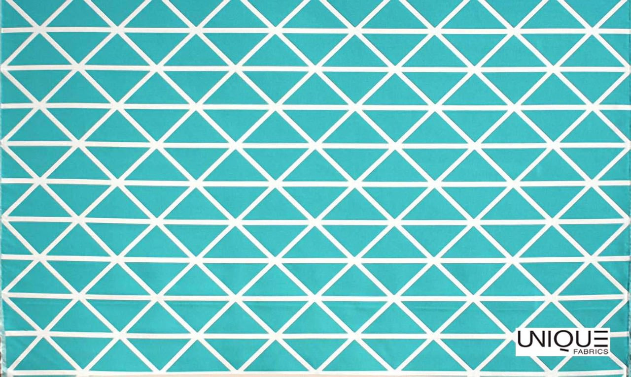 Unique Fabrics Outstanding II Profile - Caribbean  | Curtain & Upholstery fabric - Turquoise, Teal, Outdoor Use, Eclectic, Geometric, Teflon