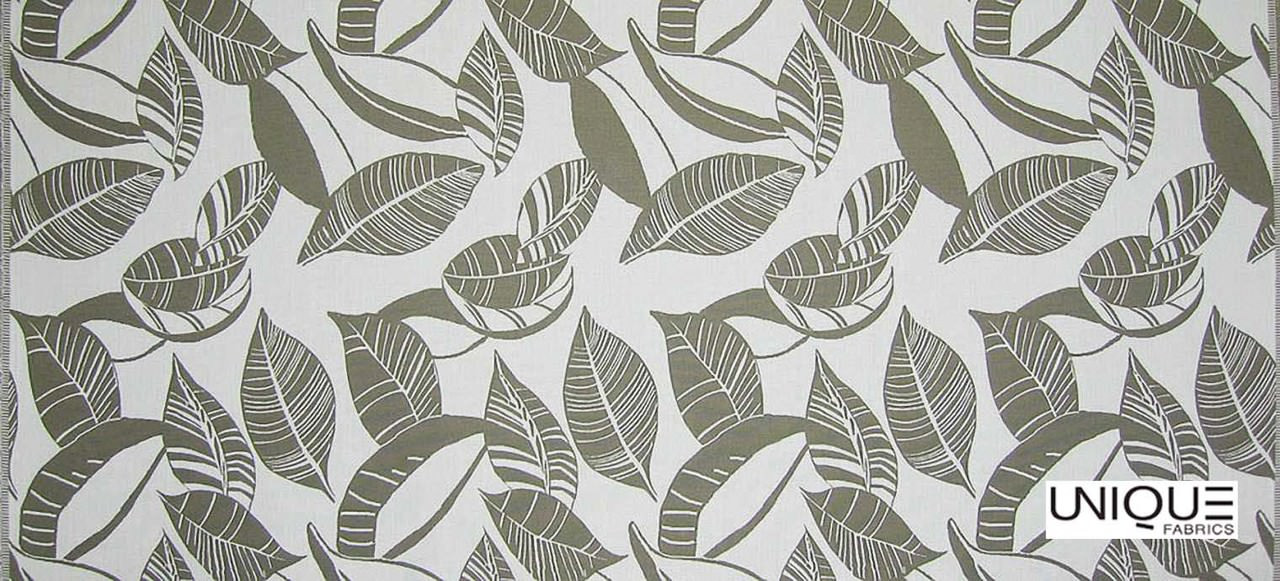 Unique Fabrics Outstanding Relief - Carrera  | Curtain & Upholstery fabric - Grey, Floral, Garden, Botantical, Outdoor Use, Teflon, Standard Width