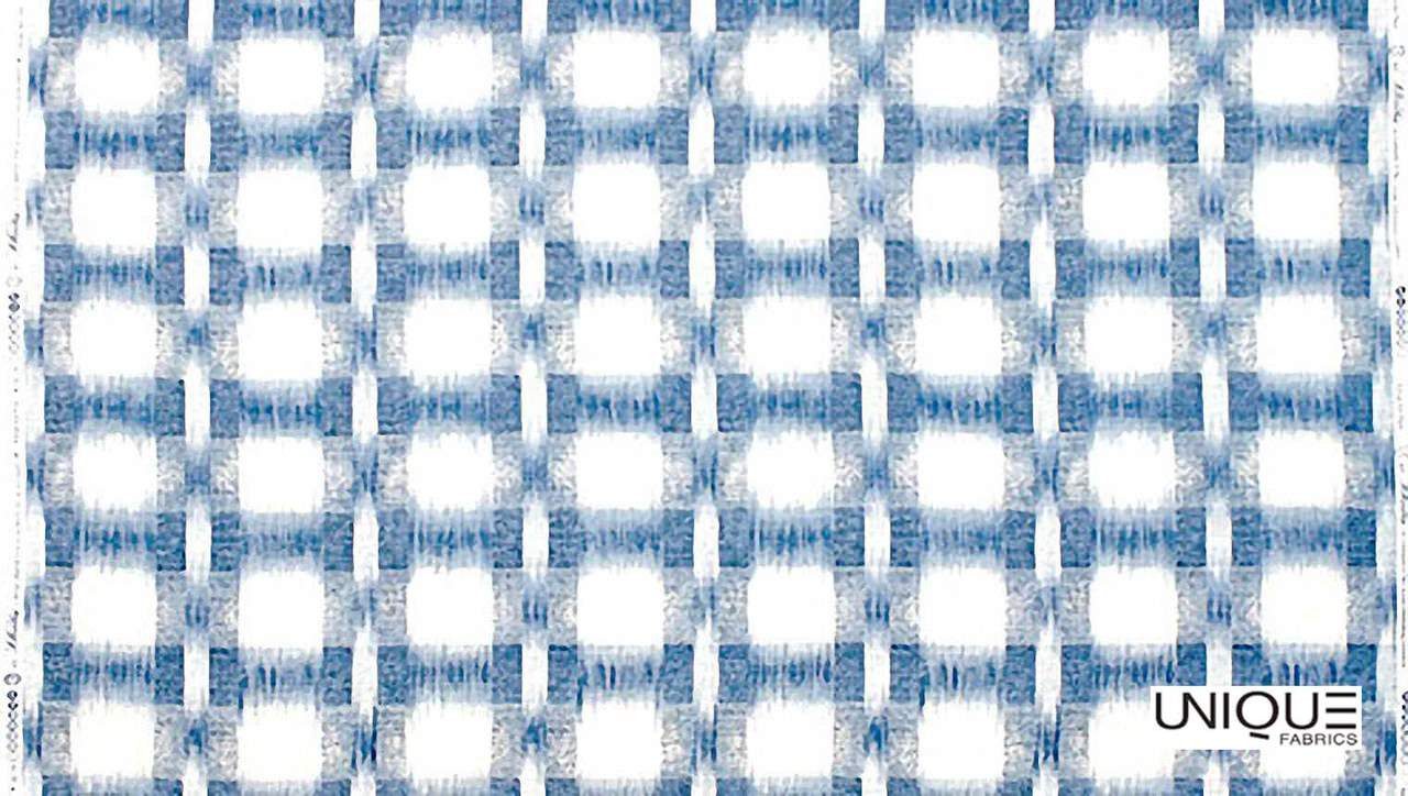 Unique Fabrics Giverny Richter Plaid - Blue  | Curtain Fabric - Blue, Eclectic, Natural, Diaper, Natural Fibre, Standard Width