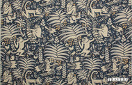 Travers Yorkshire Samango - 44092/558  | Curtain Fabric - Blue, Animals, Fauna, Monkeys, Tropical, Standard Width