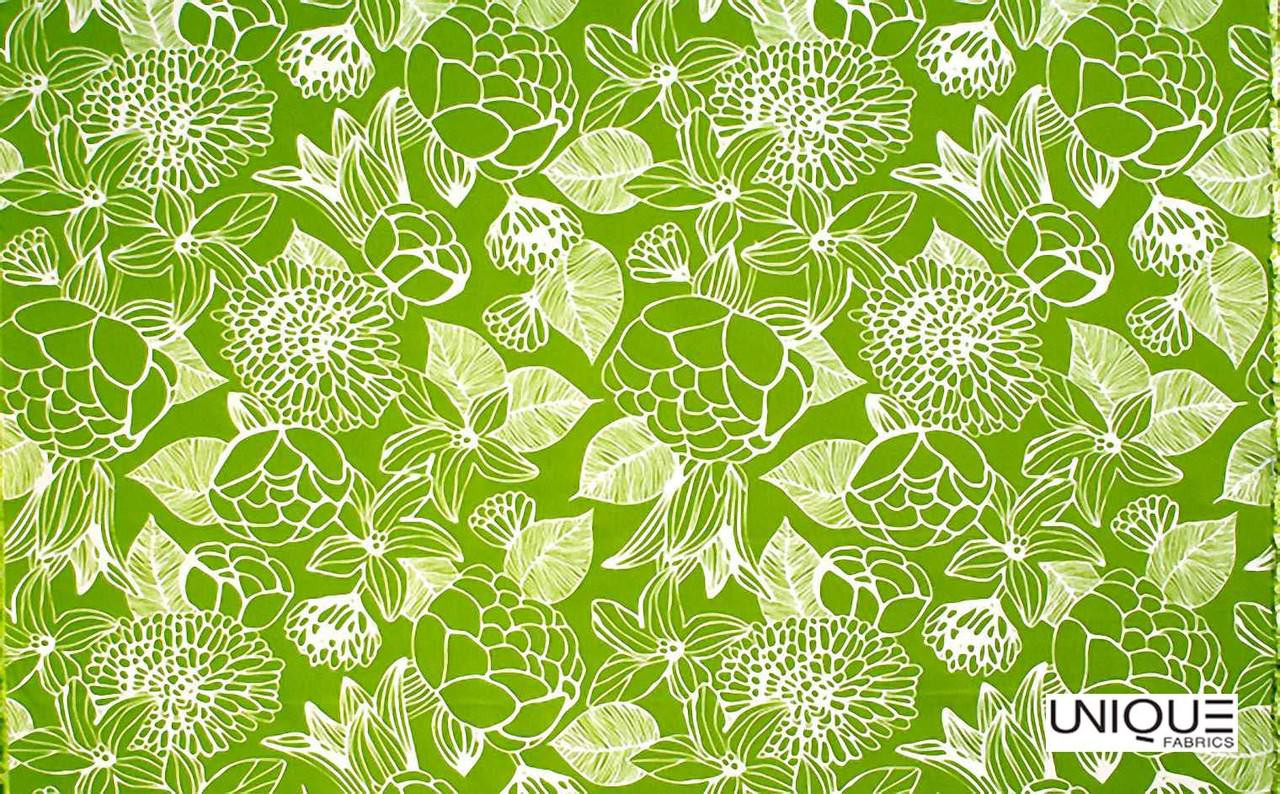 Unique Fabrics Outstanding II Silhouette - Caribbean  | Curtain & Upholstery fabric - Green, Floral, Garden, Botantical, Outdoor Use, Teflon