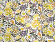 Etamine Optimiste Vasterival - 19478/193  | Curtain & Upholstery fabric - Gold,  Yellow, Floral, Garden, Natural Fibre, Domestic Use, Natural, Standard Width