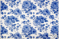 Unique Fabrics Ceramica Antique Rose - Delft  | Curtain & Upholstery fabric - Blue, Floral, Garden, Natural Fibre, Domestic Use, Natural, Standard Width