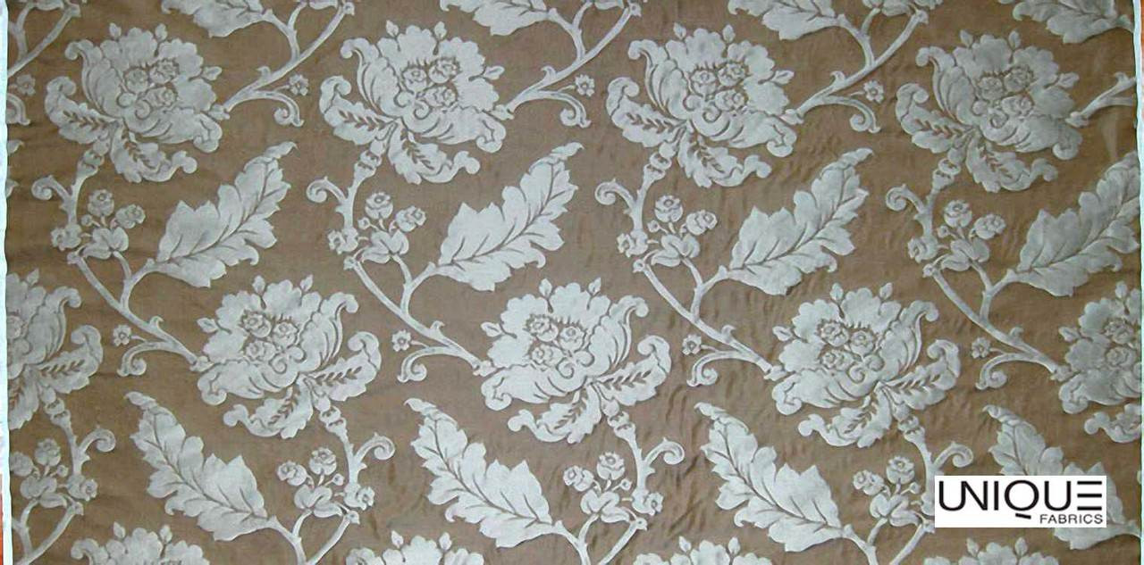 Unique Fabrics Antoinette - Ardoise  | Curtain Fabric - Brown, Floral, Garden, Botantical, Traditional, Jacobean, Craftsman, Standard Width