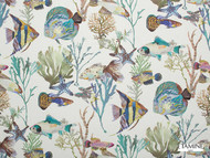 Etamine Granville Et Porquerolles Archipel - 19486/474  | Curtain Fabric - Blue, Beach, Animals, Fauna, Natural, Fish, Natural Fibre, Standard Width