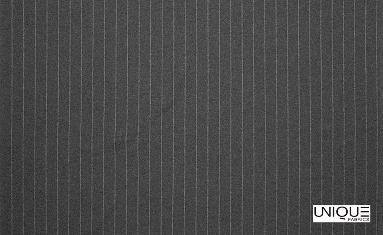 Unique Fabrics Westminster Brummel - Charcoal    Curtain & Upholstery fabric - Black, Charcoal, Stripe, Traditional, Transitional, Natural
