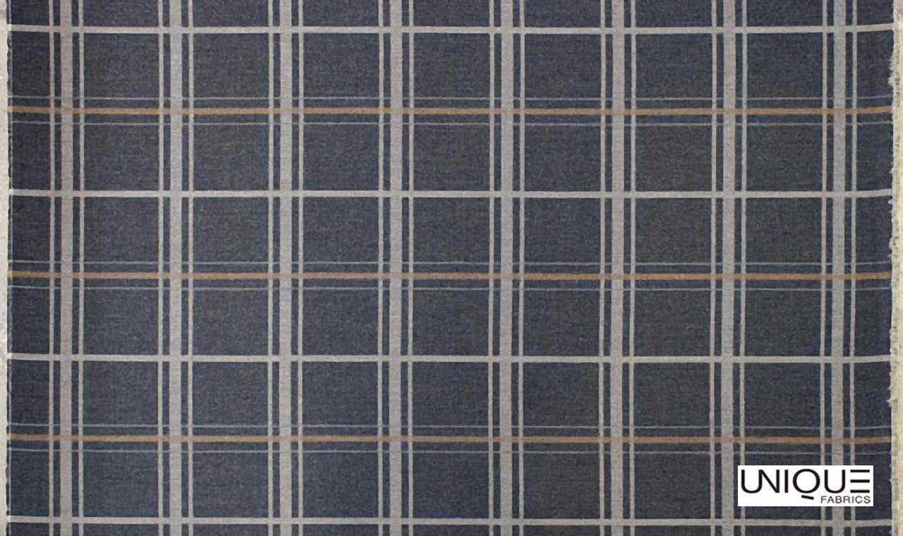 Unique Fabrics Westminster Connery - Charcoal  | Curtain & Upholstery fabric - Grey, Traditional, Eclectic, Check, Natural, Plaid, Natural Fibre