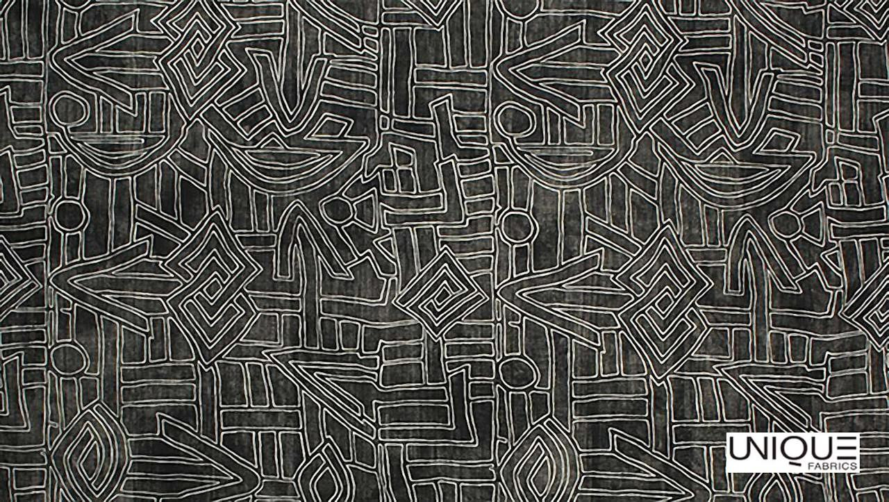 Unique Fabrics Zambesi Isaka - Stone  | Curtain & Upholstery fabric - Black, Charcoal, Eclectic, Natural, Natural Fibre, Standard Width